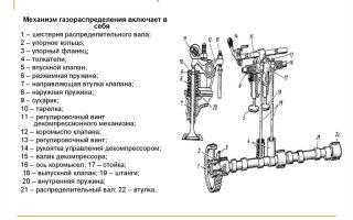 Схема и назначение газораспределительного механизма автомобиля