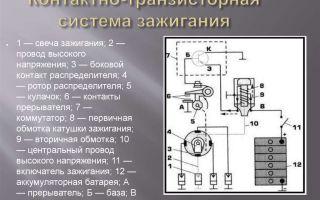 Схема контактного и контактно-транзисторного зажиганий