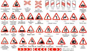 Предупреждающие дорожные знаки с пояснениями